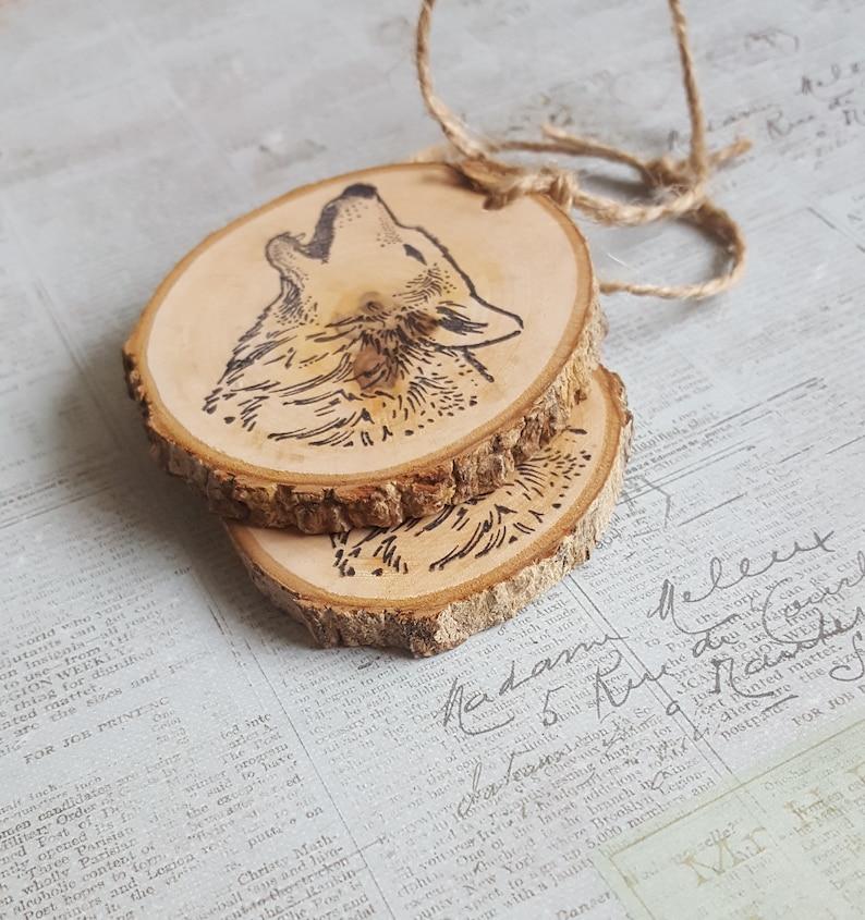 Wolf head wood slice ornament  gift tag