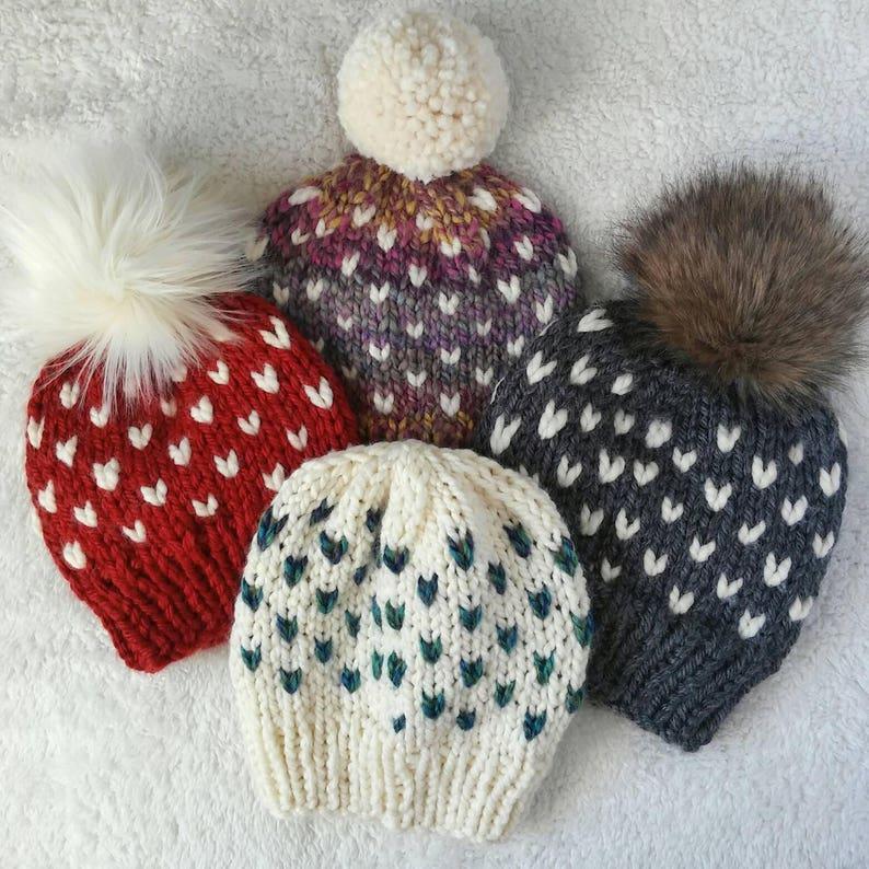 7eab5f9b2db Custom tiny heart hatfair isle beanie with faux fur pomfaux