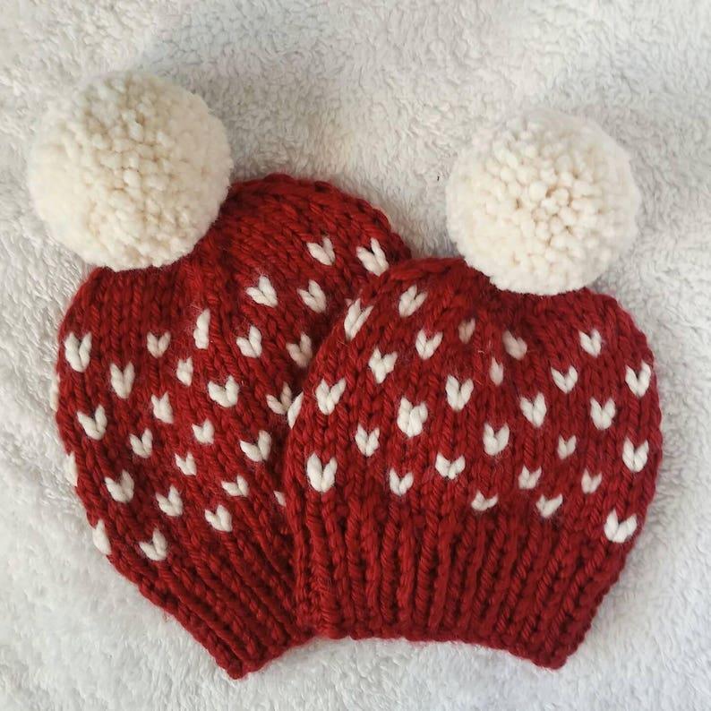 Custom tiny heart hat,fair isle beanie with faux fur pom,faux fur pom beanie slouch heart hat heart hat,custom winter beanie,women/'s hat