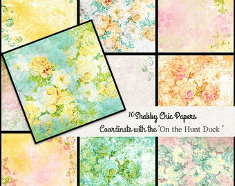 Floral Shabby Chic digital paper pack, cottage paper, floral green and pink, floral green, floral pattern, scrapbooking paper flowers