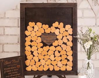 Custom Wedding Guest Book Alternative Wood Brown Drop Top Box Wedding Guestbook Alternative Unique Wedding Sign Rustic Wedding guest book