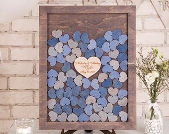 Personalised wedding drop box Drop Top Wedding Guest Book Alternative Wedding Sign Rustic wedding guest book ideas Wooden Hearts Guestbook
