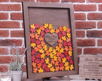 Fall Wedding Guest Book Custom Wood Wedding Drop Box Maple leaves Alternative Heart Wedding Guestbook Drop Top Rustic Wedding guestbook Leaf