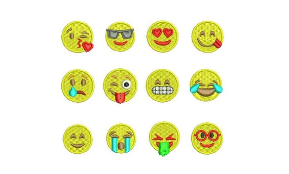 Emoji Broderie Emoticone Amour Coeur Yeux Sourire Cry Baiser Etsy