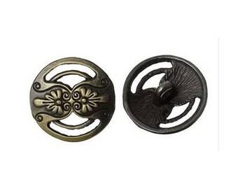 6 buttons round bronze 1.7 cm gap DECORATION