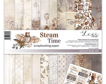 11 scrapbooking print papers 30 x 30 cm Lexi Deign STEAM TIME 18