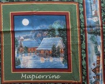 Fabric patchwork/decorating 1 tile Christmas landscape 3