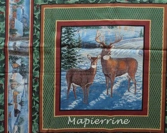 Fabric patchwork/decorating 1 tile Christmas landscape 2