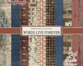 24 papers 15.2 x 15.2 cm SCRAPBERRY's WORDS LIVE FOREVER