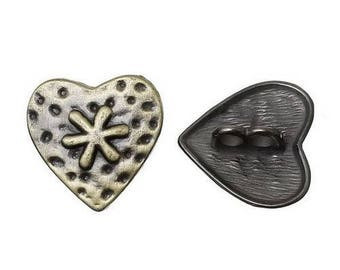 6 buttons bronze 1.9 X 1.8 cm heart