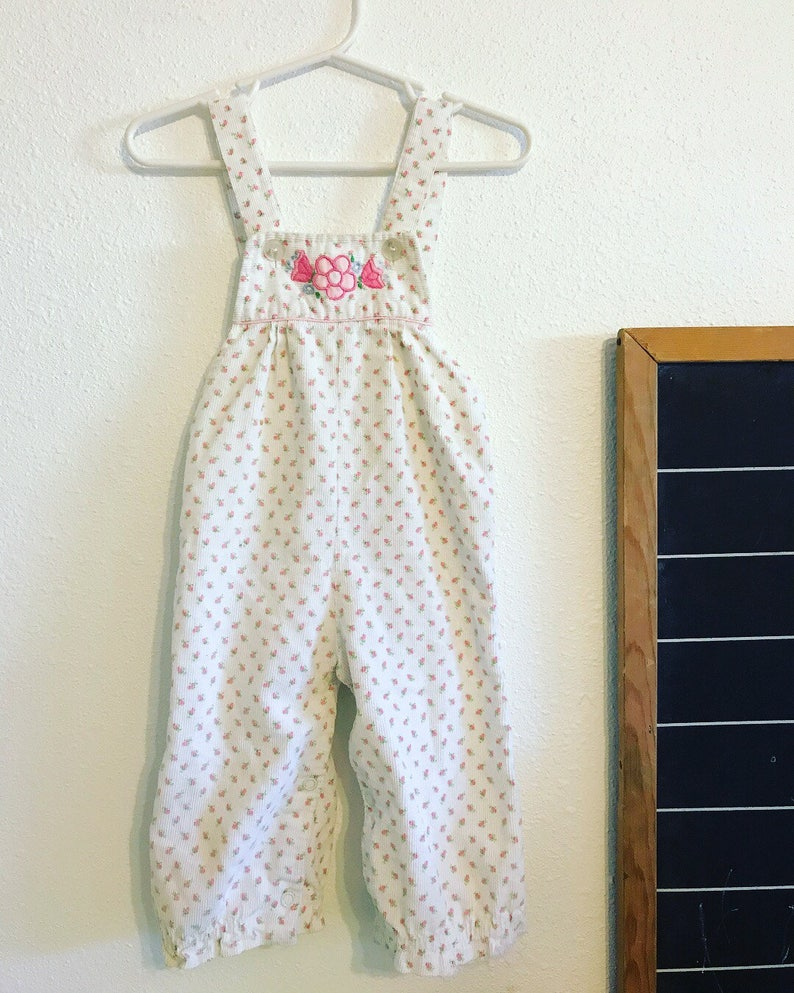 d5e15bd0e 90s pink and white floral overalls 90s baby clothes vintage