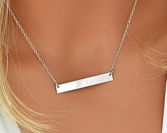ba44f1c2e3fe5f Sterling Silver Bar Necklace, Personalized Bar Necklace, Sterling Silver  Initial Bar Necklace, Engraved Jewelry, 5x40