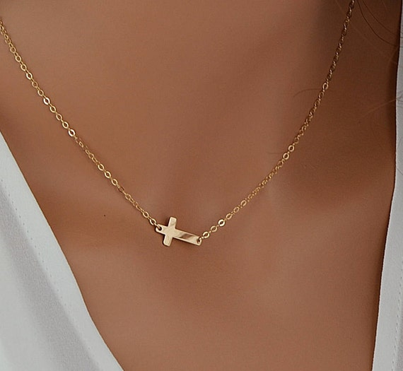 fada2cd76cf55 Dainty Cross Necklace Gold Cross Necklace Delicate Necklace