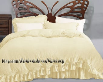 Flax Bedding Linen Bedding Frilled linen Duvet Cover European Flax Stone Washed Super Soft Linen bedding  Natural bedding Linen bedspread