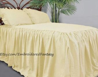 Linen bedding, Linen bed cover, dust ruffle, Linen duvet, Linen Coverlet, Bedspread, Linen bedskirt, Ruffled bedspread, Shabby chic bedding