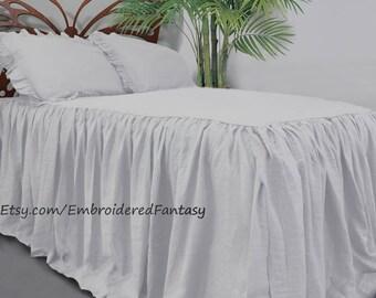 Linen bedding  Linen bed cover, Bedspread, Linen coverlet, Linen duvet, Linen Coverlet, Bedspread, Linen bed spread, Ruffled bedspread,