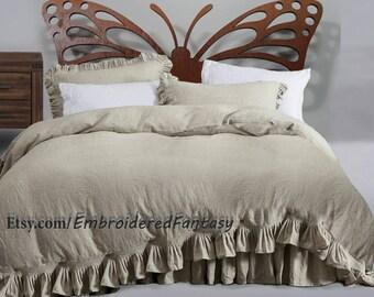 Frilled linen Duvet, Natural bedding, Organic Bedding, Natural linen, Linen Duvet, Eco Bedding, Dust ruffle, Linen bedding. Stonewashed