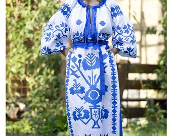 SaleVyshyvanka Dress Fashion Boho Ethnic Ukrainian Clothing Embroide Kaftan Abaya Caftan,White Linen Embroidered Dress Wedding boho wear