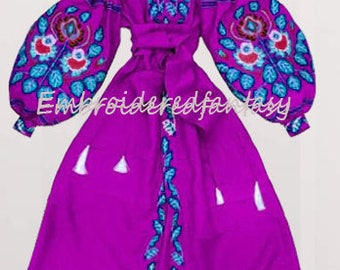 Vyshyvanka dress Ukrainian Vyshyvanka Chicnationale Embroidered Linen Dress  Linen Mexican Dress Kaftan Ukrainian Clothing Abaya Dress Boho