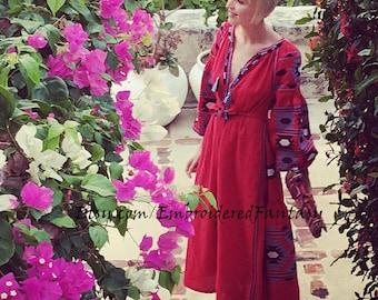 Linen Embroidered Dress Geometry Ukrainian Vyshyvanka Dress Mexican Dress Linen Kaftan Abaya, Caftan Boho midi dress, Ukrainian embroidery