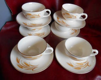 Golden Wheat Cups and Saucers  Set of 6