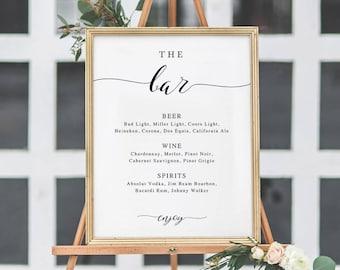 The Bar Sign, Bar Menu Sign, Wedding Bar Sign, Wedding Sign, Wedding Bar Menu Printable, Drink Menu, TEMPLETT, calligraphy #SPP007bm