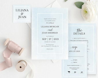 Printable wedding invitation template wedding invitation set etsy printable wedding invitation template wedding invitation set diy wedding cards download watercolor blue rustic modern spp043bwis stopboris Images