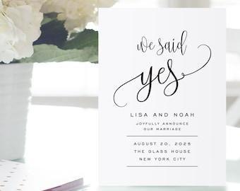 Printable Wedding Announcement Template, Elopement Announcement, DIY We Said Yes, Marriage Announcement, TEMPLETT PDF Jpeg, #SPP013we