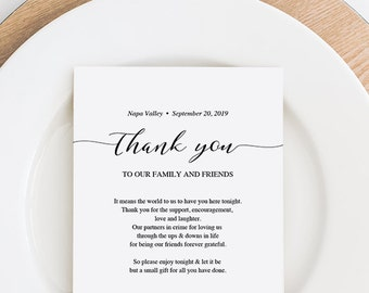 Wedding Thank You Note, Thank You Card, Thank You Letter, In Lieu of Favor Card, Place Setting Thank You, PDF Template, Instant Download