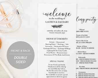 wedding program book template printable wedding program etsy