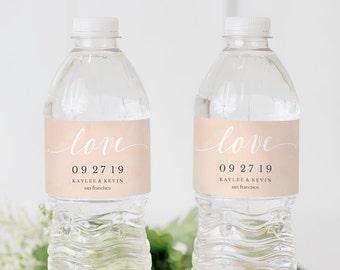 Printable Water Bottle Label, Water Bottle Label Template, Personalized Wedding Water Bottle, blush watercolor, Instant Download, #SPP038_wb