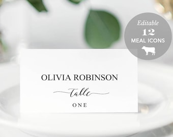 Wedding Place Card Printable, Place Card Template, Meal Choice Selection, Table Number Name Card Seating Card Instant TEMPLETT #SPP007pc