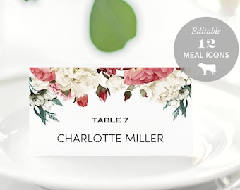 Wedding Place Card Printable, Place Card Template, Meal Choice Selection, Table Number Name Card Seating Card Instant Download PDF #SPP002pc