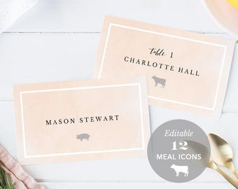 Blush Wedding Place Card Printable, Name Card Template, Meal Choice Selection, Table Number Card Seating Card Instant Download PDF #SPP043pc