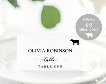 Wedding Place Card Printable, Place Card Template, Meal Choice Selection, Name Card, Seating Card, Instant Download Editable PDF #SPP007tpc