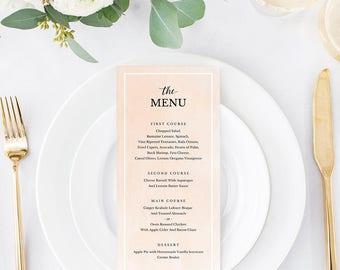 Wedding Menu Template, Printable Menu, Wedding Dinner Menu, DIY Menu Card, Instant Download, Editable PDF, Blush Watercolor, SPP043mn