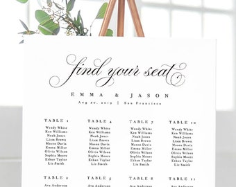 wedding seating chart template seating chart printable etsy