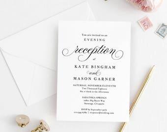 printable wedding reception invitation template evening etsy