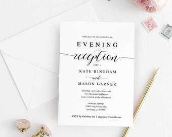 Reception invitation etsy printable wedding reception invitation template evening reception invite diy formal reception card editable pdf modern spp007iiri filmwisefo