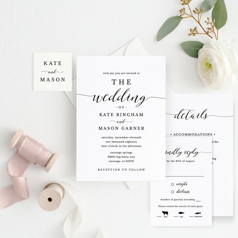 picture relating to Printable Wedding Invitation Templates called Printable Wedding ceremony Invitation Template, Marriage Invitation Preset, Do-it-yourself Marriage Playing cards, TEMPLETT, Innovative Calligraphy, Rustic Marriage #SPP007iiwis