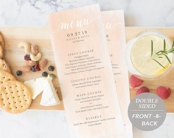 Wedding Menu Template, Printable Menu, Wedding Dinner Menu, DIY Menu Card, Instant Download, Editable PDF Blush Watercolor Rustic SPP038-mn