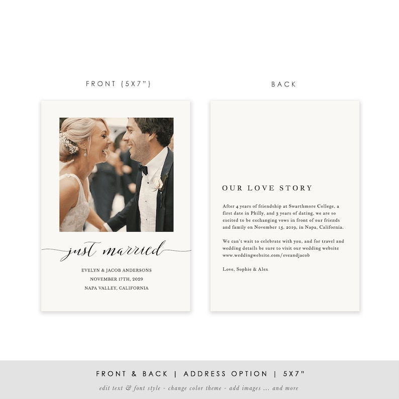 Elopement Announcement Marriage Photo Card TEMPLETT PDF Jpeg #SPP007wep Printable Wedding Announcement Template DIY Just Married
