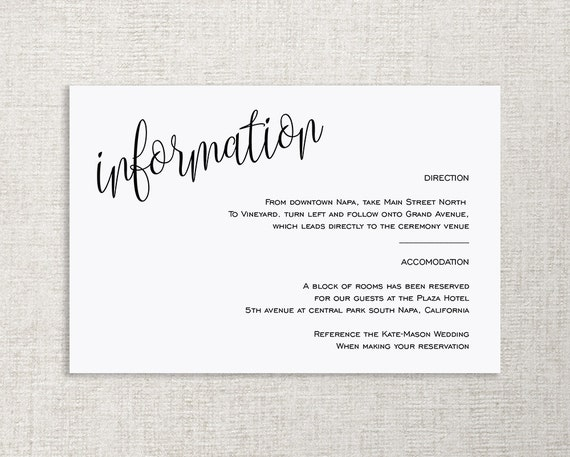 Wedding Invite Information: Wedding Enclosure Card Details Card Information Card