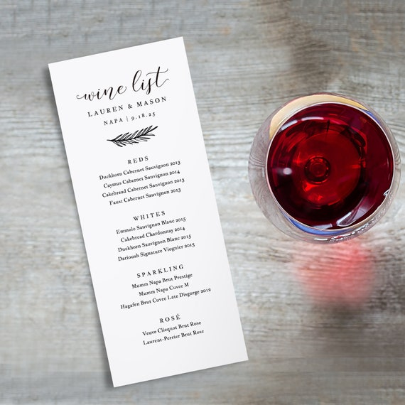 Wine Menu Printable Wedding Wine List Template Drink Menu Etsy