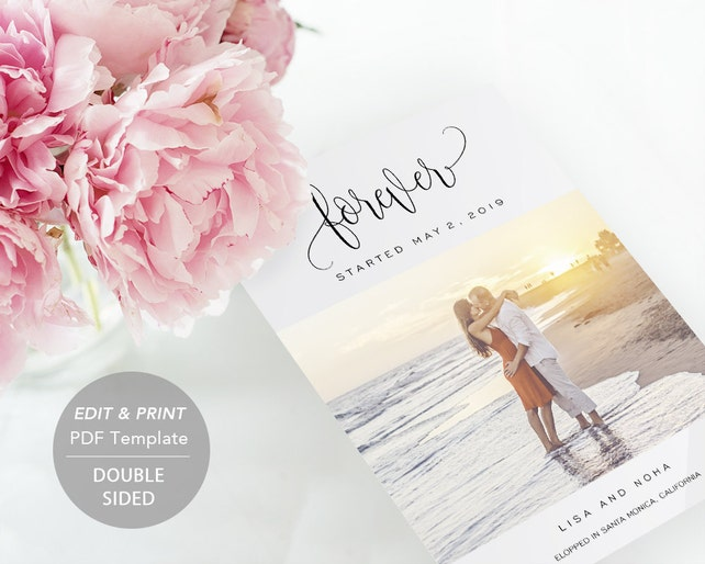 Printable Wedding Announcement Template Elopement DIY Just Married Marriage Card PDF Instant Download Photo SPP013wep