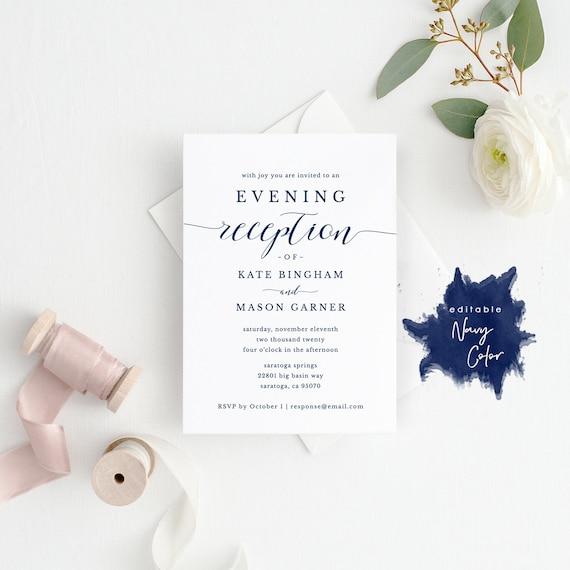 printable navy reception invitation template evening etsy