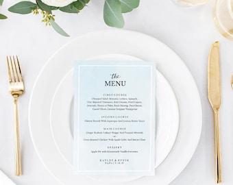 Wedding Menu Template, Printable Menu, Wedding Dinner Menu, DIY Menu Card, Instant Download, Editable PDF French Blue Watercolor SPP043bmn57