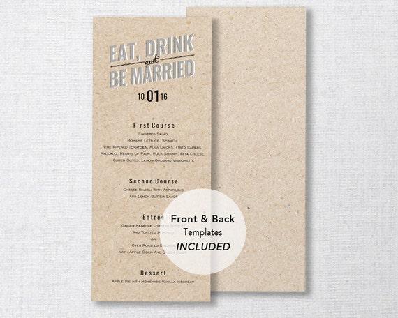 picture relating to Printable Menu Card referred to as Marriage Menu Template, Printable Menu, Wedding day Evening meal Menu