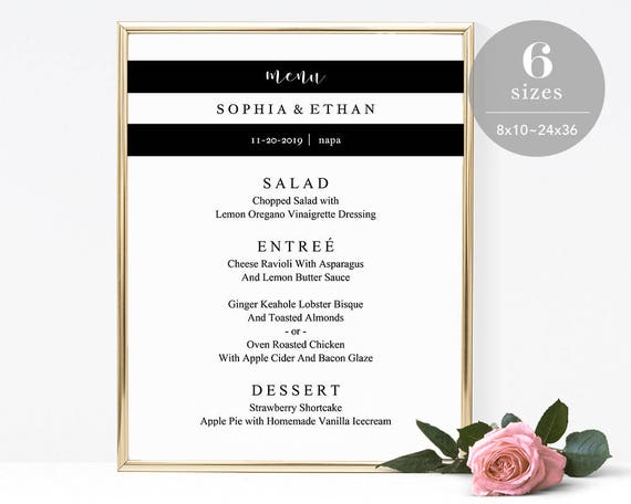 Wedding Sign Printable Wedding Menu Board TEMPLETT PDF Jpeg Downlaod #SPP034ms DIY Wedding Menu Poster Wedding Menu Sign Template