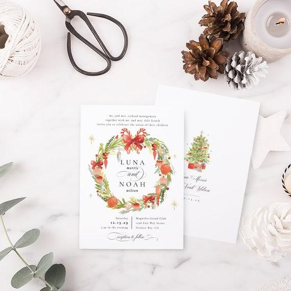 Christmas Theme Wedding Invitation Template Wedding Etsy